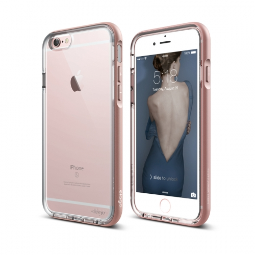 S6 Dualistic case for iPhone 6/6S -  Clear + Rose gold